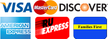 Visa, MasterCard, Discover, American Express, RU Express, NJ Families First